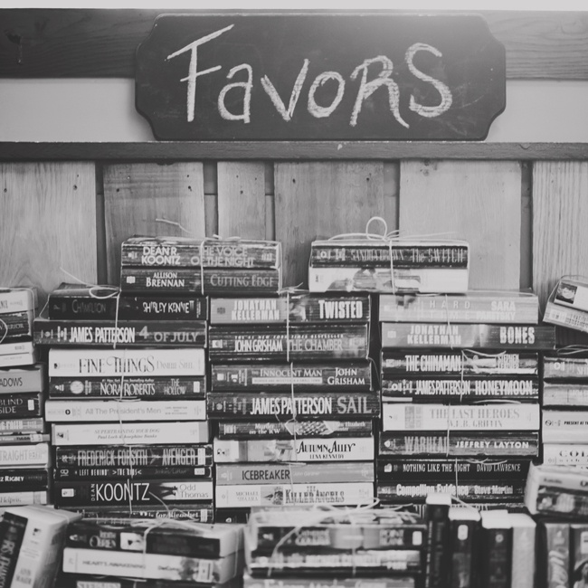 "As favors, the couple bought (mostly) trashy novels in bulk and tied complementary titles together with twine. ""They were a huge hit. Guests loved hunting for an appealing cover,"" recalls the couple."