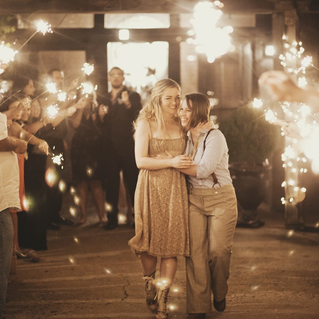 Friends and family wished the couple well with a grand sparkler send-off.