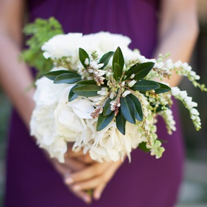 Ivory Garden Rose and Lily of the Valley Bouquet