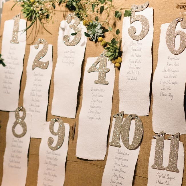 """""""Our seating chart was made by calligrapher Kim Werner. She used a blue ink pen on watercolor paper scrolls,"""" Sydney explains."""