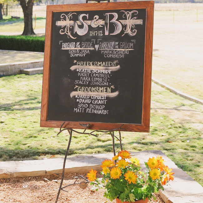 A framed chalkboard (Shannon created it out of an old window!) gave information on the parents of the bride and groom along with the wedding party.
