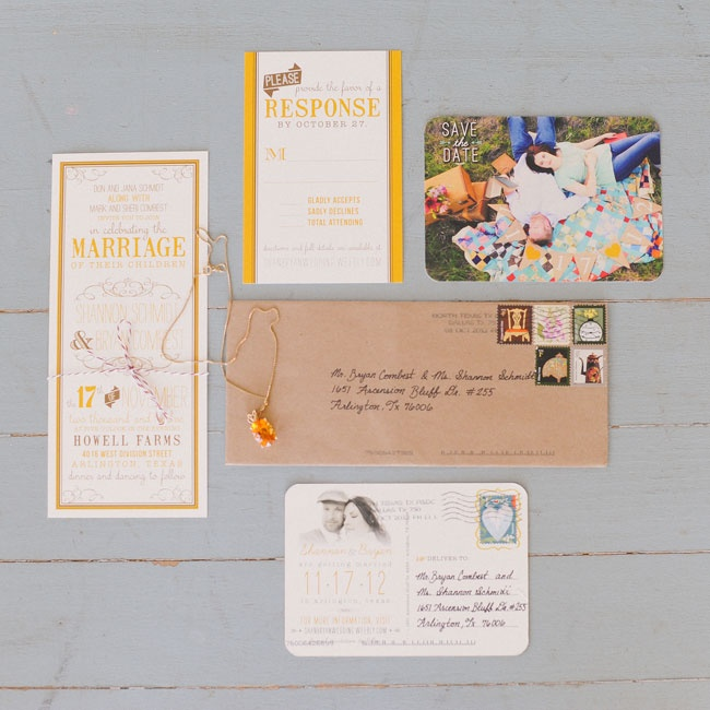 The couple worked with a designer to create stationery with a rustic, vintage vibe. The end result was a relaxed, colorful suite that was highlighted with interesting fonts and textures.