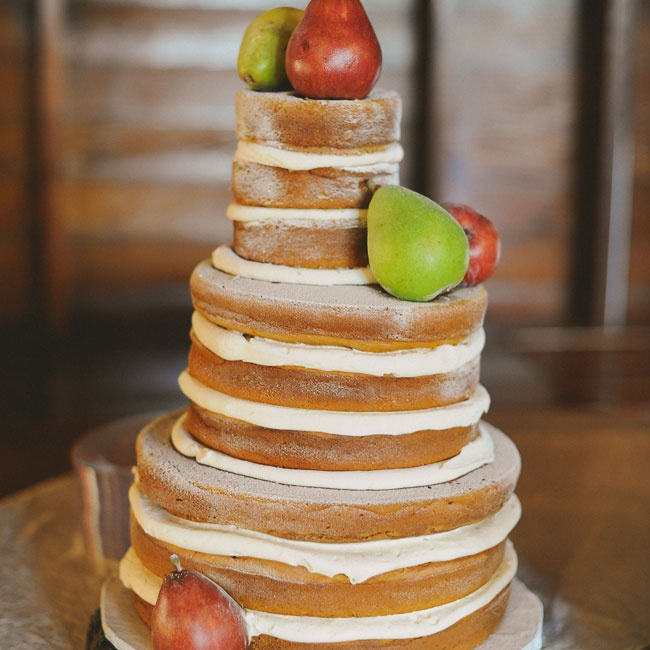 The naked, pumpkin spice cake had cream cheese icing between the layers and was simply decorated with fresh pears.