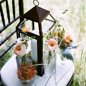 Rustic Lantern and Wildflower Centerpieces