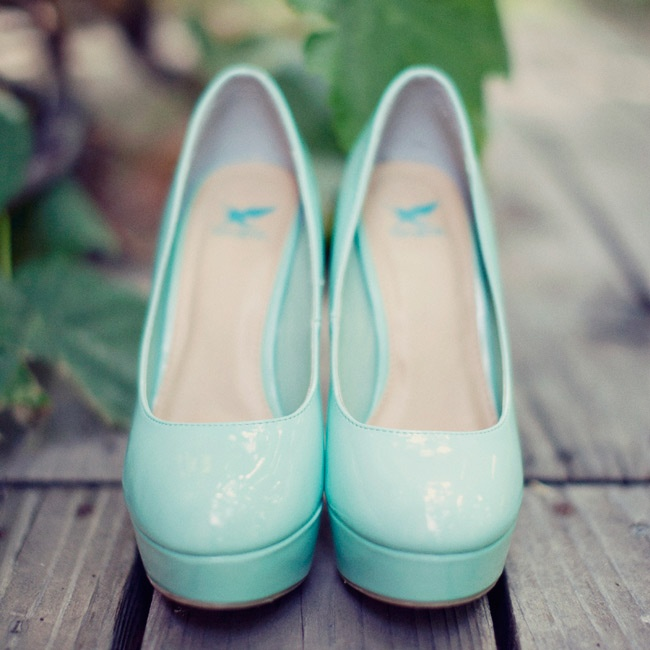 The soft Tiffany Blue color of Allysa's heels felt fresh and playful.