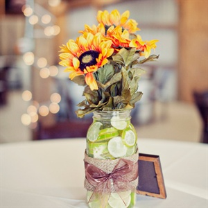 Lime-filled Mason Jar Centerpieces