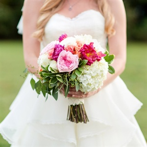 Bright Pink and White Bridal Bouquet