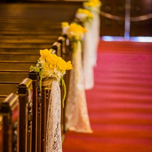 Yellow Floral and Lace Aisle Markers