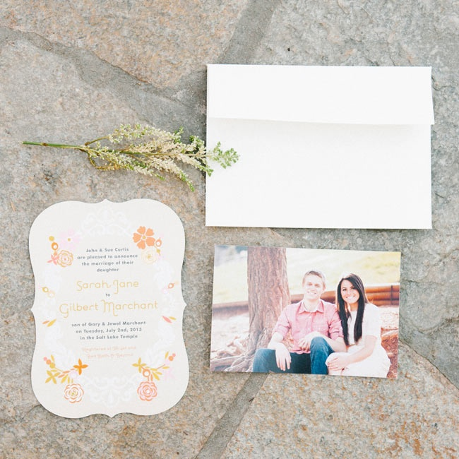 The invitations were die cut and decorated with a modern floral print for a feminine, playful look.