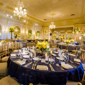 Blue and Yellow Ballroom Decor