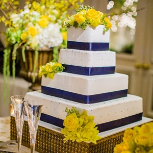 Blue and Yellow Square Cake