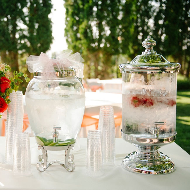 The couple served their guests refreshing drinks like cucumber and strawberry basil infused water.