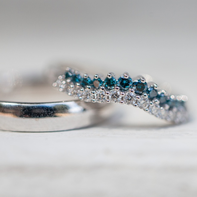 """April and Jordan put a unique personal touch on their wedding bands. They had the inside of each ring engraved with a sentimental quote from the Harry Potter series - """"After all this time?"""" in Jordan's and """"Always."""" in April's."""