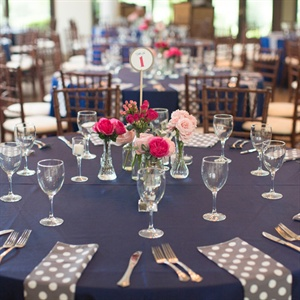 Polka Dot and Navy Table Linens