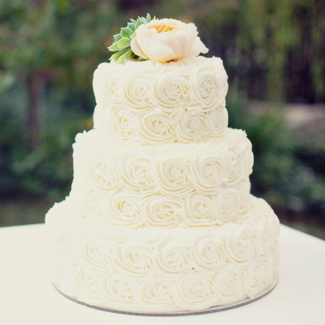 Each layer of the three tier cake was decorated with ivory buttercream rosettes and topped with a bright green succulent and peach garden rose.