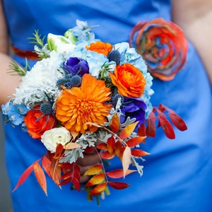 Orange and Blue Bridesmaid Bouquet