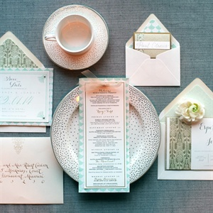 Seafoam Green and Gold Invitation Suite