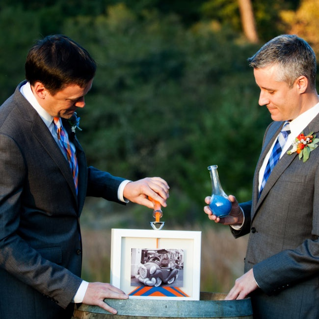 Doug and Chris celebrated their unity by pouring orange and blue sand into a transparent frame.