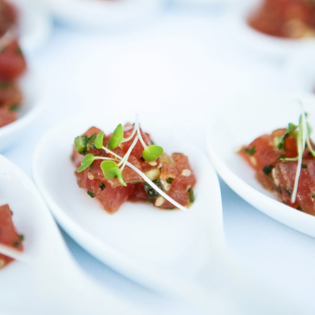 After the ceremony, guests enjoyed small bites including Yellow Fin Tuna Tartare paired with local Napa Valley wine.
