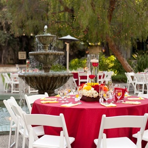 Red and Yellow Reception Table