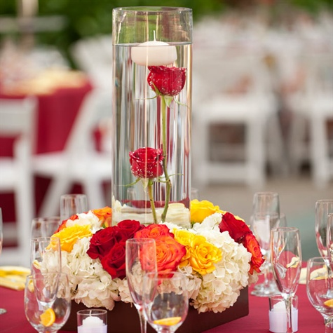 Red and yellow rose centerpiece - Red and yellow centerpieces ...
