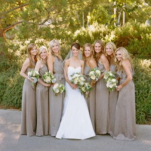 One-Shoulder Champagne Bridesmaid Gowns