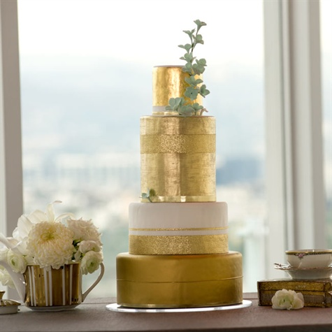 Four-tiered Gold Wedding Cake