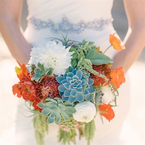 Red, Orange and Green Textured Bouquet