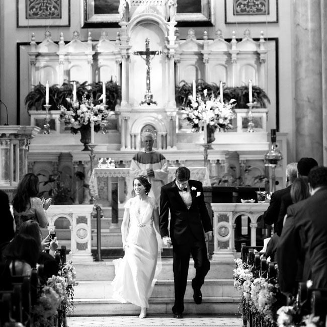 The couple was married in a traditional Catholic ceremony with a full mass in addition to the rite of marriage.