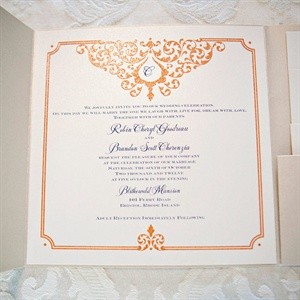 Orange and Navy Invitations