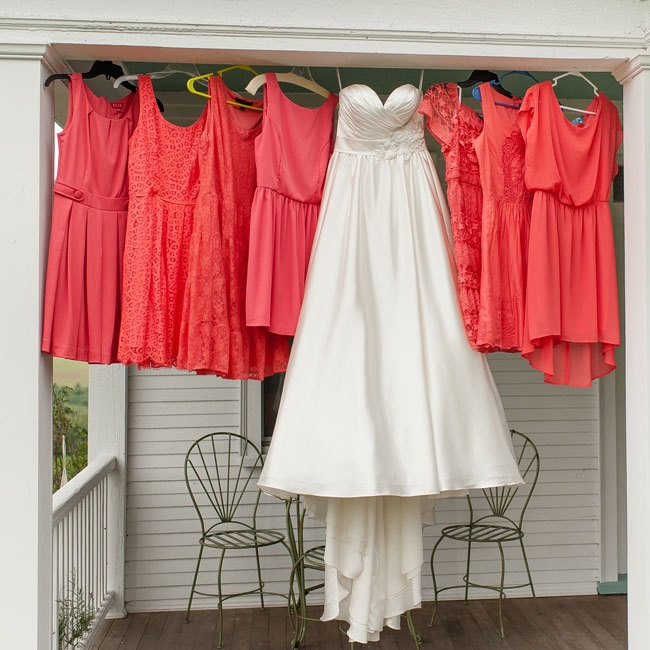 All the ladies in the bridal party hung their dresses on the front porch for a cute photo opp.