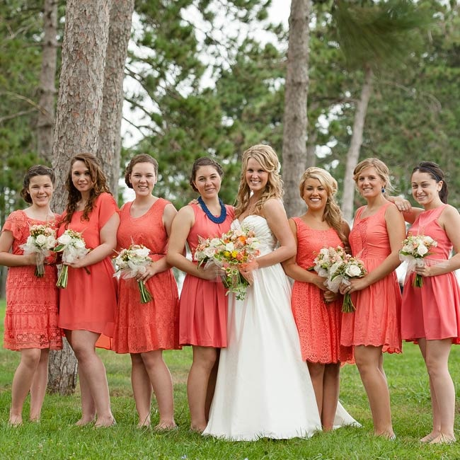"The seven bridesmaids chose their own dresses in a preppy coral hue. ""Each girl looked unique and totally herself,"" says Kate."