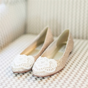 Gold Lace-Embellished Flats