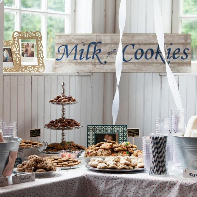 Neither the bride or groom like cake, so they had a milk and cookies bar instead!