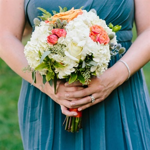 Peach and White Bridesmaid Bouquet