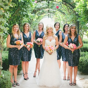 Shimmery Navy Bridesmaid Dresses
