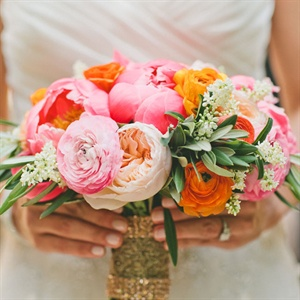 Bright Pink and Orange Bridal Bouquet