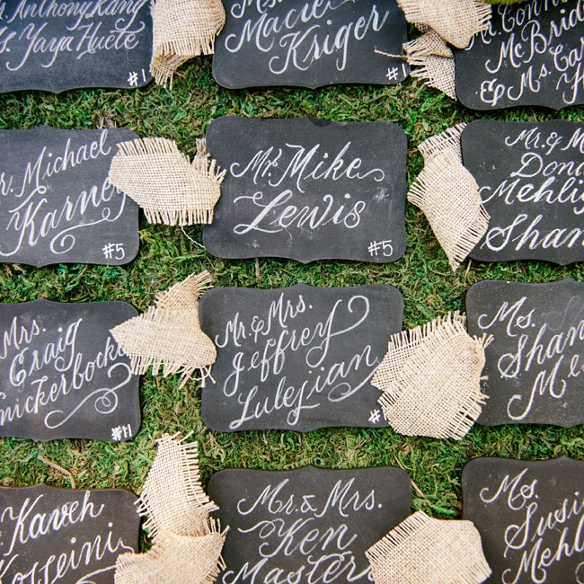 Guests found their seats with hand calligraphed chalkboard escort cards tied with burlap ribbon.
