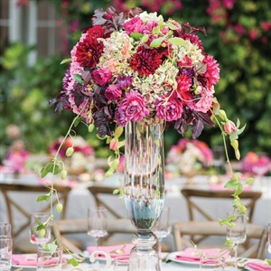 Red and Purple Dahlia Centerpiece