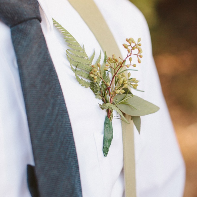 Seeded eucalyptus made for an elegant-yet-casual groom's boutonniere.