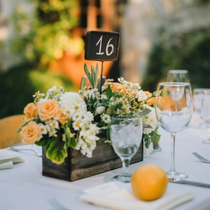 Orange and White Reception Decor