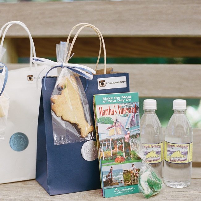 The welcome bags included water bottles for hydrating, a guide to Martha's Vineyard, and Martha's Vineyard–shaped cookies.