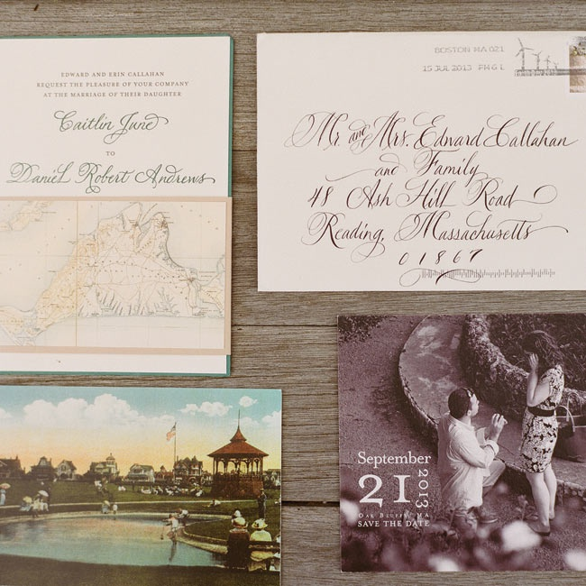 In keeping with the rustic, Martha's Vineyard theme of the wedding, the RSVP postcard was an old-fashioned photo of Ocean Park.