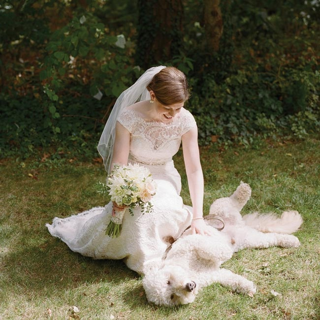 The couple's dog made an appearance for the photos, making the day even more unforgettable.