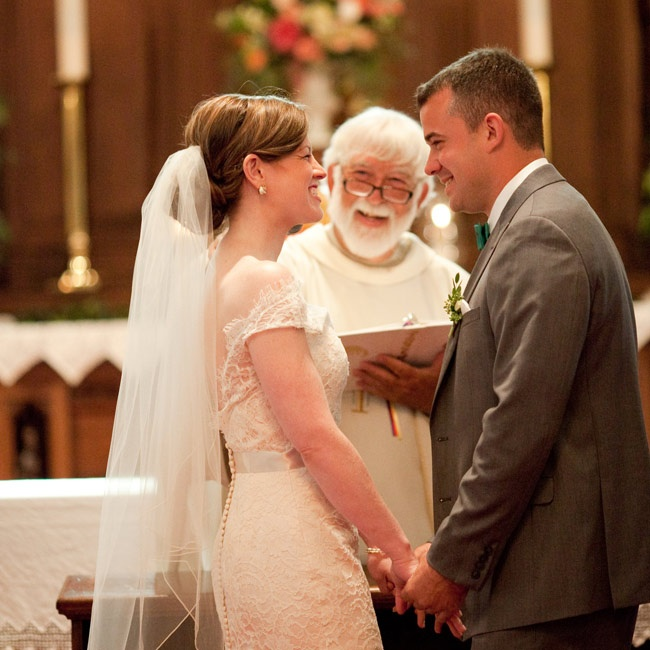 "The couple had a traditional church ceremony and included as many friends and family members as they could. ""My father walked me down the aisle and I think he was more nervous than I was,"" Caitlin says."