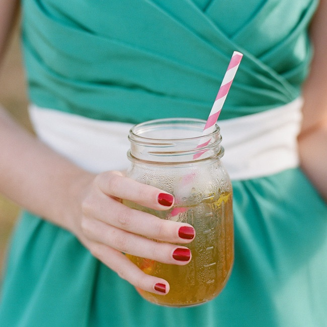 The signature cocktails were served up in classic mason jars with fun striped paper straws.
