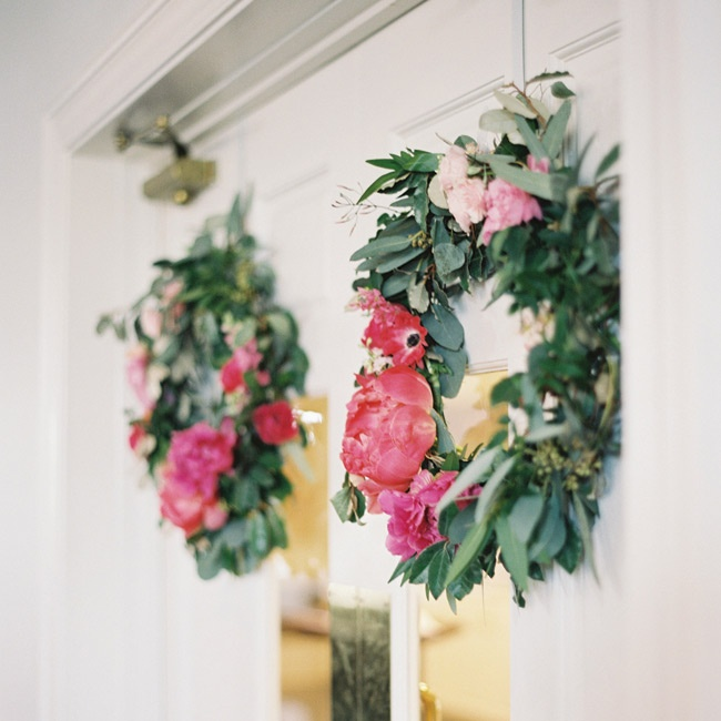 The doors of Lexington Presbyterian Church—Lauren and Cody's ceremony site—were decorated with large floral wreaths.