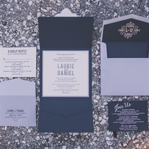Gray and Navy Invitation Suite