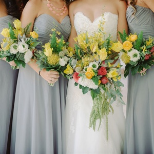 Lush Yellow and White Bouquets