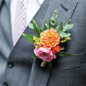 Orange and Pink Boutonniere